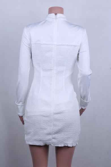 Sexy Stylish Ladies' Long Sleeve Point Collar Button Down Pocket Patched Plain Mini Bodycon Blazer Dress