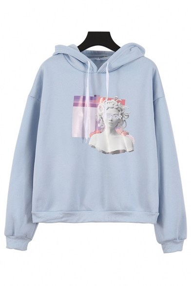 Vaporwave Sculpture Pattern Long Sleeve Thick Light Blue Pullover Hoodie without Pocket, LC575358