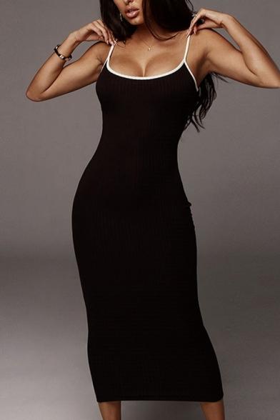 Womens Casual Plain Speghatti Straps Contrast Trim Slim Fit Maxi Cami Dress