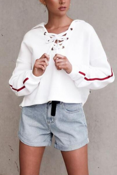 Womens Casual Striped Long Sleeve Lace Up Front White Oversized Cropped Hoodie