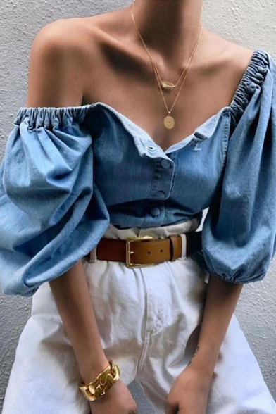 Womens Elegant Plain Blue Lantern Half Sleeve Square Neck Button Down Leisure Denim Blouse Top