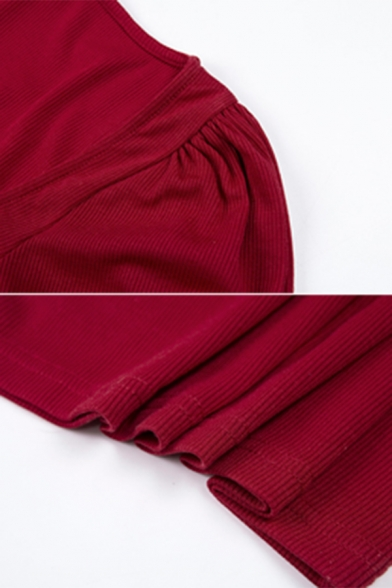 Womens Elegant Plain Lantern Short Sleeve Sweetheart Neck Mini Fitted Party Dress