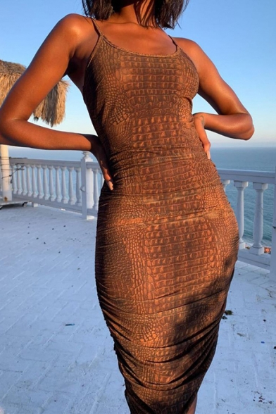 Womens Popular Brown Snake Skin Printed Slim Fit Midi Party Slip Dress