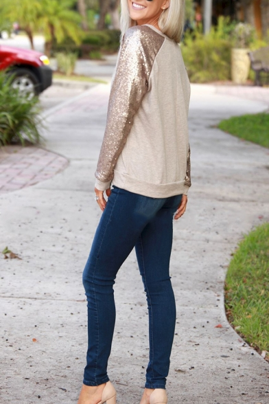 Womens Simple Sequin Patched Long Sleeve Casual Top Pullover Sweatshirt