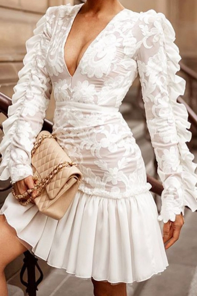 Beautiful Ladies' Long Sleeve Deep V-Neck Floral Embroidered Ruffled Trim Patched Pleated Bodycon A-Line Dress in White