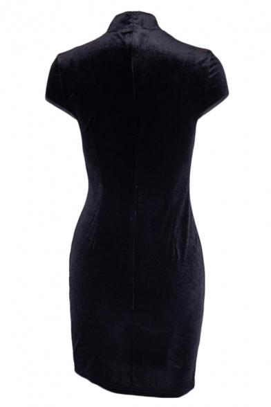 Elegant Oblique Frog Button Split-Side Slim Fit Mini Velvet Cheongsam Dress for Evening Party