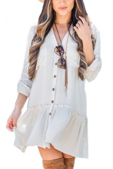 Casual Girls' Long Sleeve V-Neck Button Down Ruffled Trim Plain Pleated Mini Swing Dress