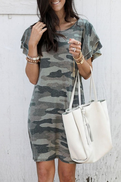 Casual Street Girls' Tiered Sleeve Round Neck Camo Printed Shift Midi T-Shirt Dress