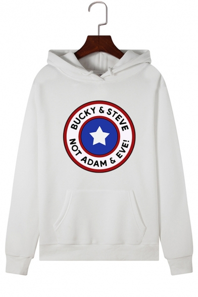 Classic Star Logo Printed Long Sleeve Pouch Pocket Drawstring Hoodie, Black;green;pink;red;royal blue;white;light blue;yellow;light green;grey, LC576654