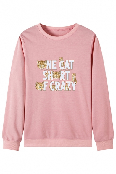 Creative Cat Letter ONE CAT SHORT OF CRAZY Print Long Sleeve Leisure Sweatshirt