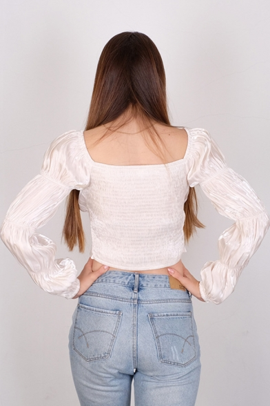 Edgy Girls' Bell Sleeve Off The Shoulder Elastic Detail Half Button Pleated Asymmetric Plain Fitted Crop Blouse
