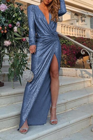Elegant Pretty Ladies' Long Sleeve Surplice Neck High Slit Front Plain Maxi Wrap Column Dress for Evening Cocktail