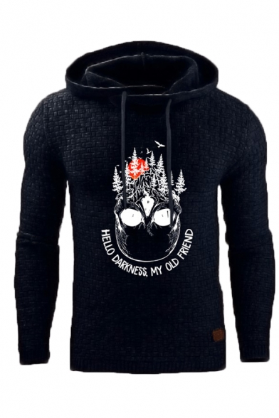 Funny Letter HELLO DARKNESS MY OLD FRIEND Print Slim Fit Graphic Jacquard Hoodie