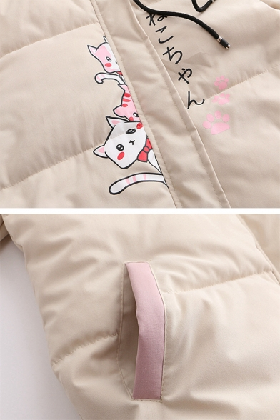 Girls Winter Popular Japanese Letter Cat Print Khaki Loose Puffer Coat with Pocket