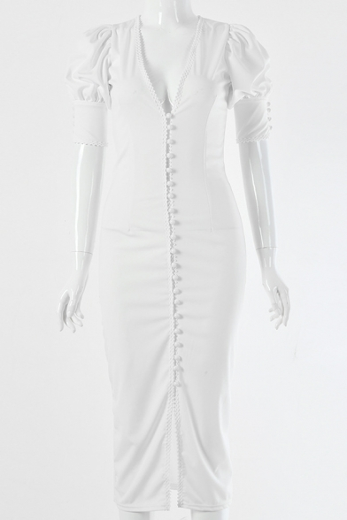 Ladies Elegant Plain White Puff-Sleeve V Neck Single Breasted Midi Fitted Party Dress