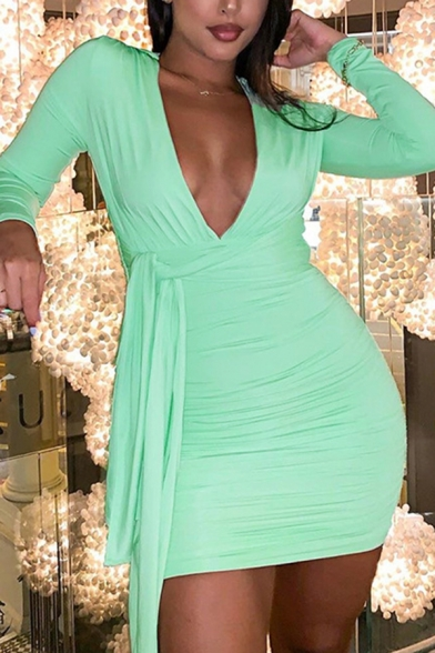 Ladies New Stylish Plain Long Sleeve V-Neck Tied Front Mini Ruched Bodycon Dress for Party, Green;pink, LM569647