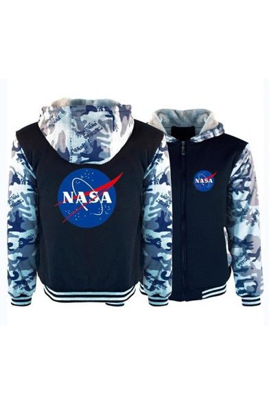 Mens Classic NASA Letter Print Colorblocked Long Sleeve Slim Fit Thick Hoodie