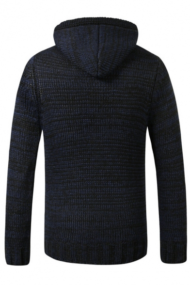 Mens Stylish Plain Button Front Long Sleeve Slim Fitted Chunky Knit Drawstring Hoodie Sweater