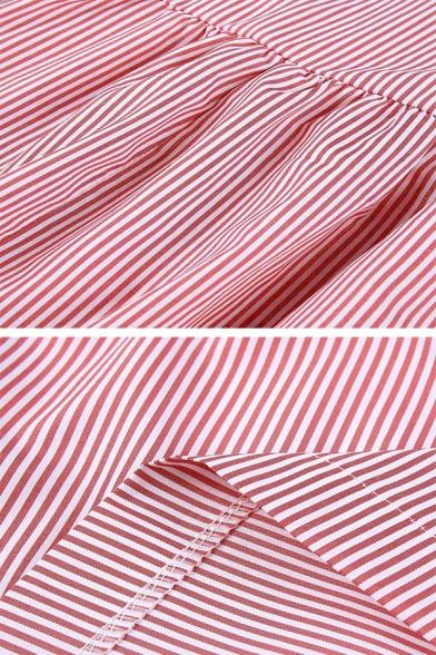Plain Cute Girls' Short Sleeve Crew Neck Stripe Print Pocket Pleated Midi Swing Dress