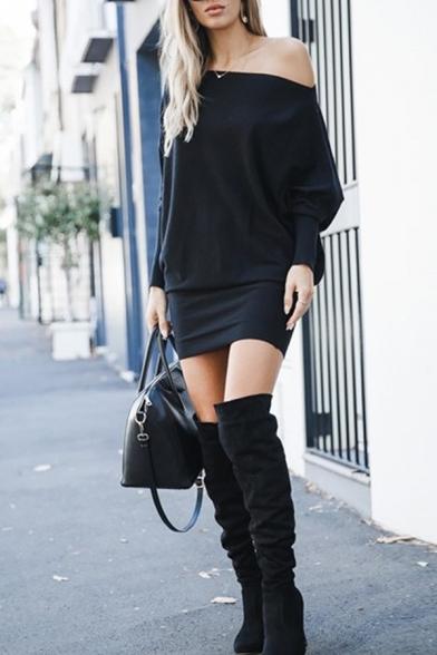 Sexy Trendy Ladies' Long Sleeve Drop Sleeve Plain Mini Tight T-Shirt Dress