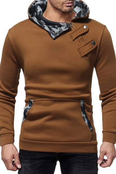Unique Camo Patched Collar Inclined Zip Up Button Embellished Long Sleeve Fitted Hoodie