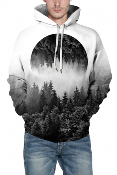 White Creative Forest 3D Printed Long Sleeve Loose Fit Drawstring Hoodie