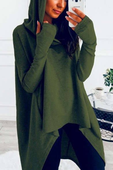 Womens Active Popular Solid Color Long Sleeves High Low Loose Asymmetric Hoodie