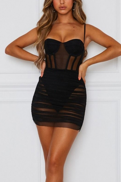 Womens New Trendy Plain Sheer Mesh Ruched Mini Cami Dress for Party