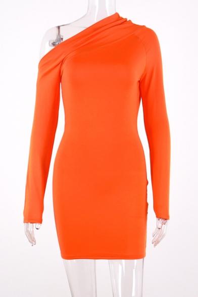 Womens Sexy Fashion Slash One Shoulder Long Sleeve Orange Plain Fitted Mini Dress for Club