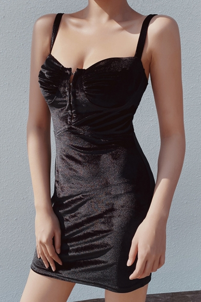 Womens Sexy Plain Sleeveless Black Velvet Fitted Mini Bustier Strap Dress for Party