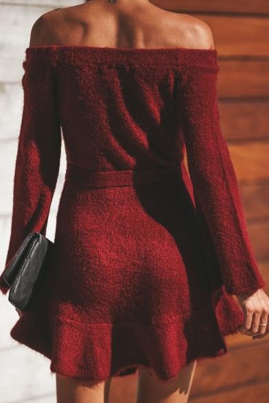 Fashion Plain Off the Shoulder Bell Sleeve Tied Waist Mini A-Line Sweater Dress