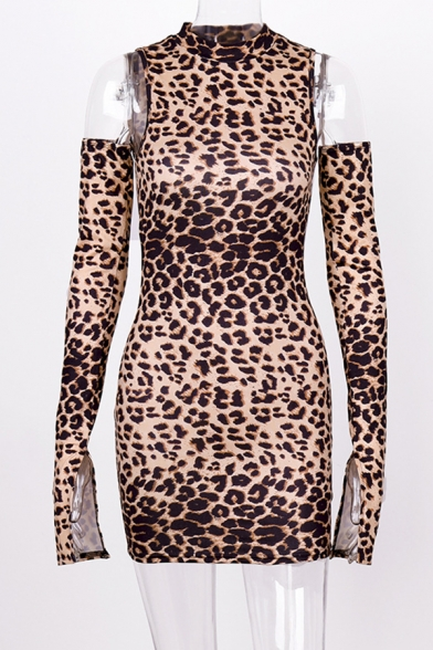 Female Popular Cold Shoulder Split Long Sleeve Brown Leopard Printed Mini Fitted Party Dress