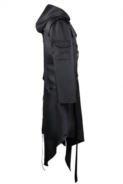 Ladies Cool Black Long Sleeve Ribbon Embellishment Irregular Hem Zip Up Longline Trench Coat