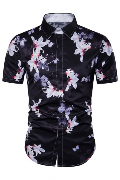 Male Personality Floral Print Short Sleeve Curved Hem Button Up Casual Shirt