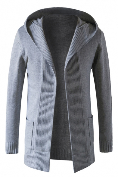 Mens Casual Solid Color Gray Striped Knitted Open Front Long Sleeve Tunic Cardigan with Pocket