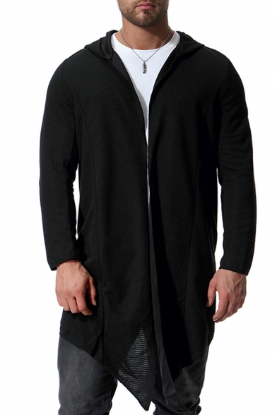 Mens Simple Whole Colored Long Sleeve Open Front Black Tunic Hoodie