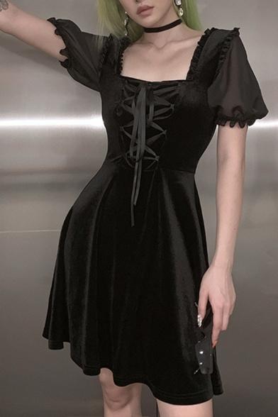 Nero Moda Lolita Puff Manica Corta Collo Quadrato Pizzo Davanti Midi Una Linea di Fluido Vestito per il Partito
