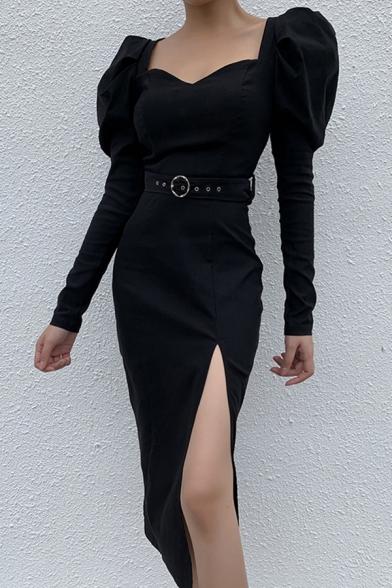 Plain Black Sweetheart Neck Puff Long Sleeve Side Split Black Midi Party Dress with Belt