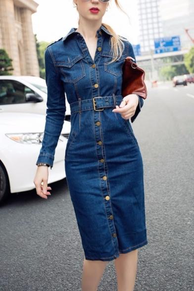 Sexy Cool Girls' Long Sleeve Lapel Collar Button Down Slit Back Midi Sheath Denim Dress in Blue LM575457 фото