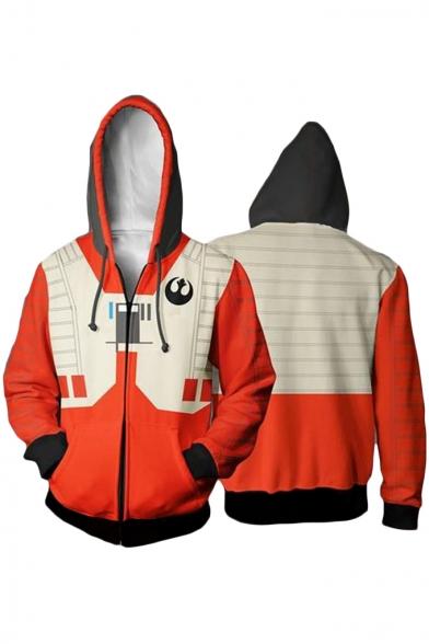 Star Wars Darth Vader Cosplay Costume Long Sleeve Zip Up Orange Hoodie
