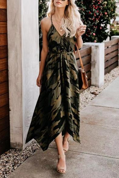 Unique Ladies' Sleeveless Deep V-Neck Bow Tie Waist Hollow Back Camo Print Asymmetric Pleated Maxi Flowy Dress in Army Dress