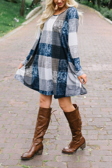 Women's Plus Size Long Sleeve Round Neck Plaid Print Short Swing Dress in Blue