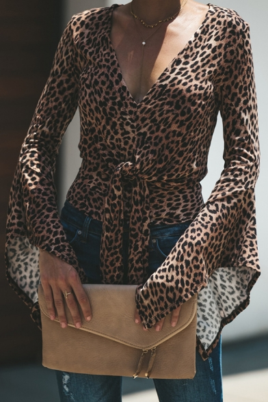 Womens Chic Brown Leopard Printed V-Neck Flared Long Sleeve Tied Waist Casual Fitted Shirt Top