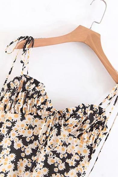 Womens Chic Daisy Pattern Tied Straps Zip Placket Black Mini A-Line Slip Dress