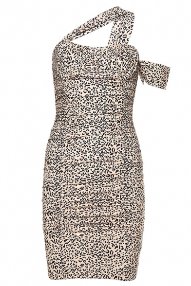 Womens Chic Leopard Print Slash Front Club Wear Brown Midi Tight Dress