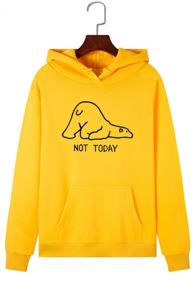 Womens Cute Letter NOT TODAY Print Long Sleeve Pouch Pocket Graphic Hoodie, Green;pink;red;royal blue;white;gray;light blue;yellow;light green, LC575543