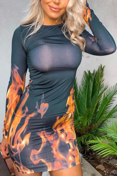 Womens Popular Flame Printed Long Sleeve Round Neck Midi Bodycon Dress