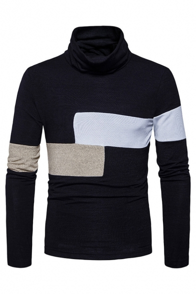 Colorblocked Geometric Pattern Long Sleeve Cowl Neck Slim Fitted Casual Pullover Top Sweater