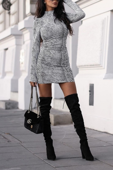 Edgy Girls' Long Sleeve High Neck Snake Patterned Bodycon Short Dress