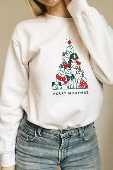 Funny Dogs Letter MERRY WOOFMAS Printed Long Sleeve Chic Pullover Sweatshirt, Black;pink;white;gray;yellow, LC571080